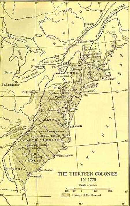 Map of the original 13 colonies