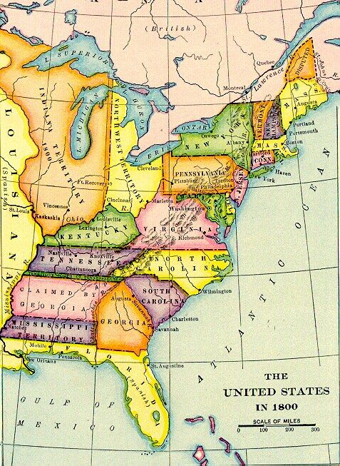 The United States In Archiving Early America - Map of the us in 1800