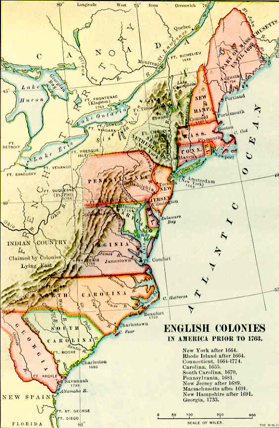 The English Colonies Before Archiving Early America - Map of us during 1763