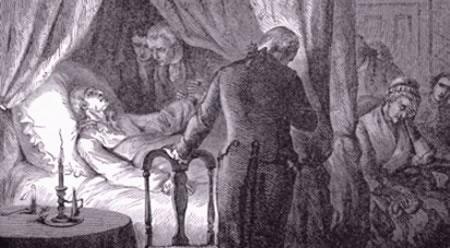 George Washington attended by Drs. Craik and Brown as he lay dying