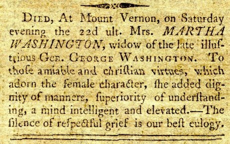 Martha Washington Obituary