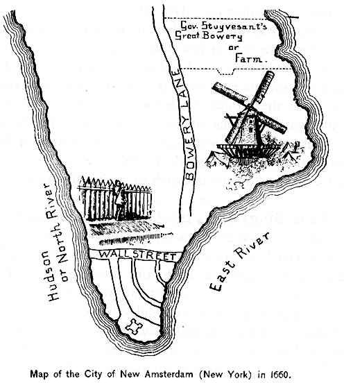 Map of New Amsterdam, New York, in 1660