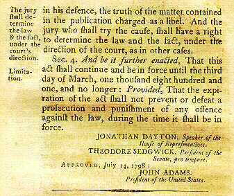 the consequences of the alien and sedition acts in the united states The alien and sedition acts were passed as a codified attempt by the federalists to protect the united states from the anarchy of the french revolution and from those seditious elements seeking to undermine the federal government.