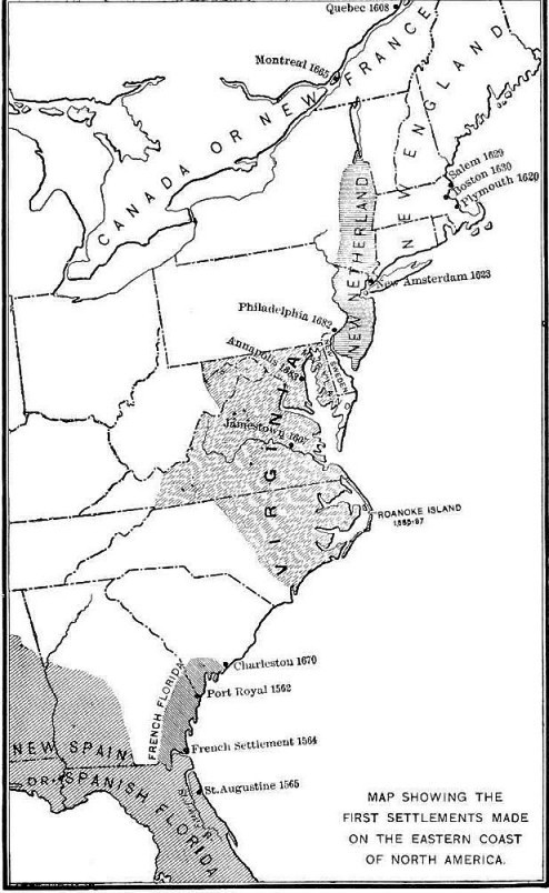 First Settlements On Eastern Coast Of North America Archiving - Map of us eastern seaboard