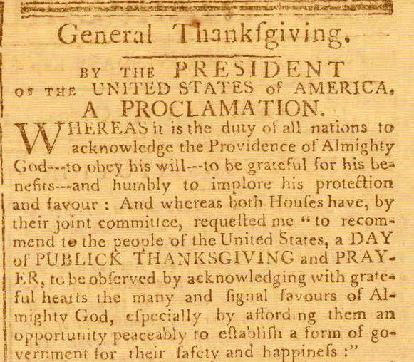 Thanksgiving Proclamation, The Massachusetts Centinel, Wednesday, October 14, 1789
