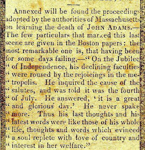 Obituary of John Adams