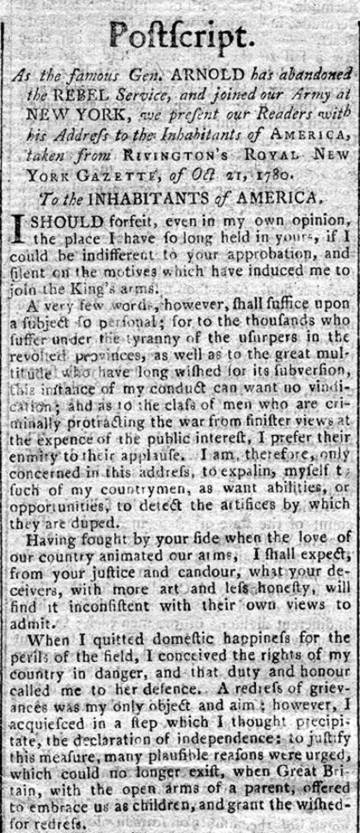 Benedict Arnold's Letter to America