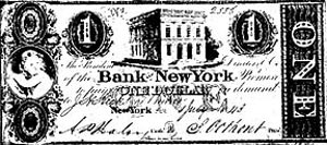 A one-dollar note issued by the Bank of New York