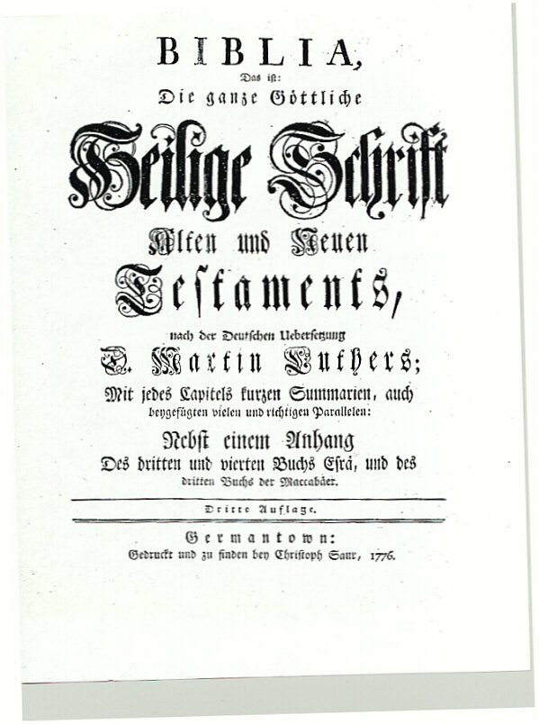 Title Page from the First Bible
