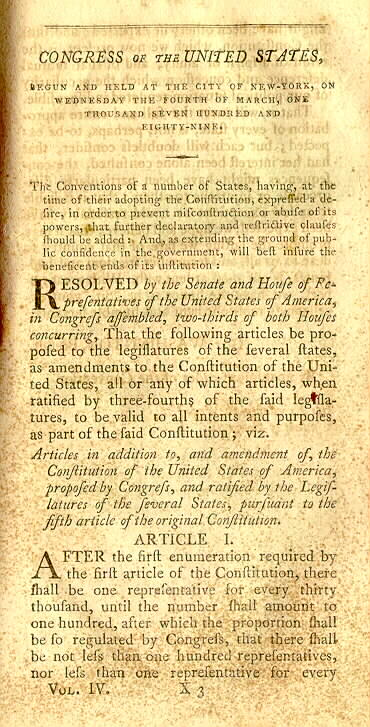 Bill of Rights page 1