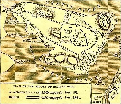 Map of the Battle of Bunker Hill