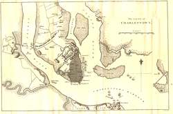 Map of the failed British siege of Charlestown, South Carolina