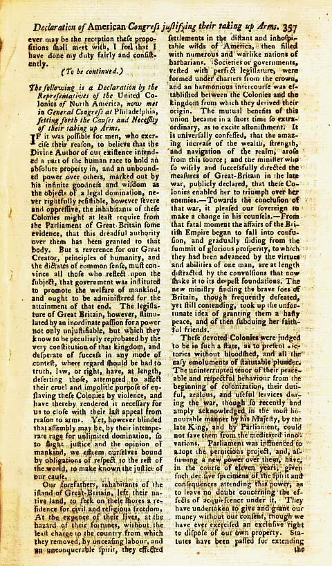 Page 1 of the Declaration of Arms