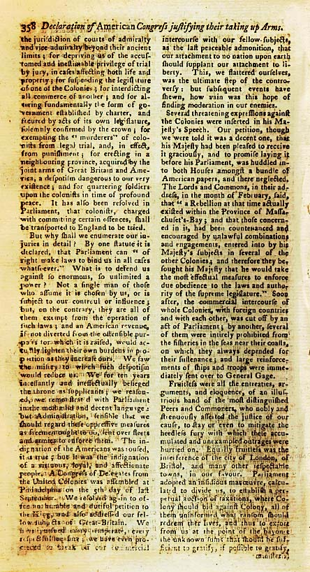 Page 2 of the Declaration of Arms