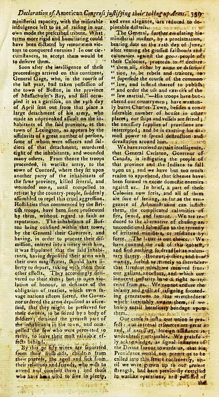 Page 3 of the Declaration of Arms