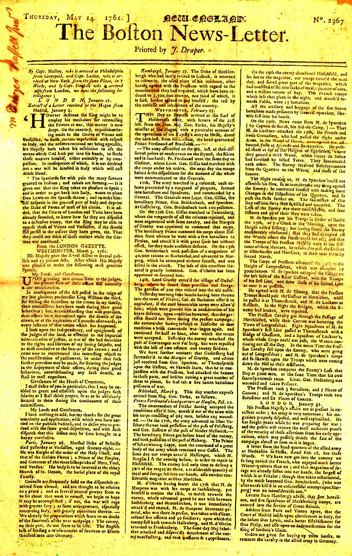 The Boston News-Letter was America's first newspaper