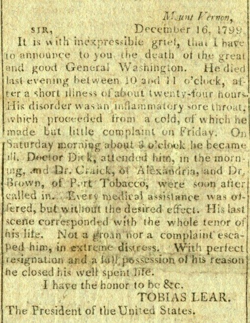 obituary of george washington archiving early america george washington s obituary