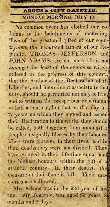 Thomas Jefferson's Obituary