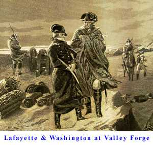 Lafayette and George Washington at Valley Forge