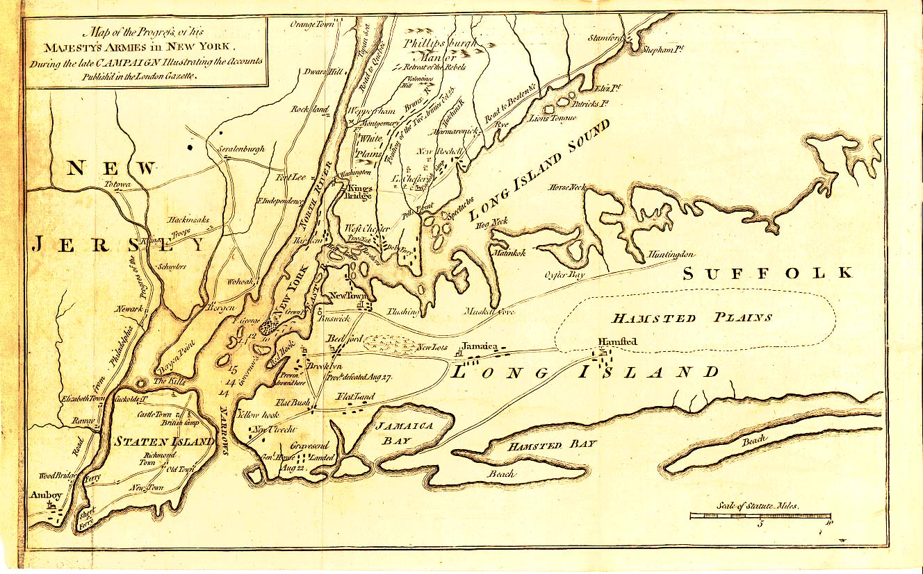 Map of George Washington's Battle Engagements in 1776