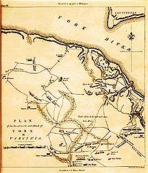 Map showing British outposts and Allied positions deployed in the attack on Yorktown in October, 1781