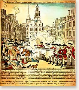 Paul Revere's color print of the Boston Massacre