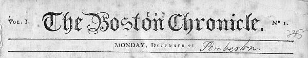 Boston Chronicle of December 21, 1767.