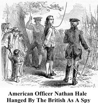 Nathan Hales hanged by the British as a spy
