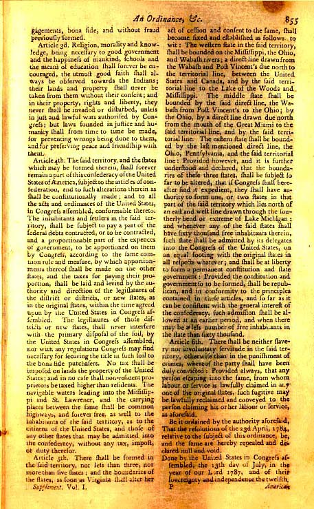 Page 3 of the original Northwest Ordinance