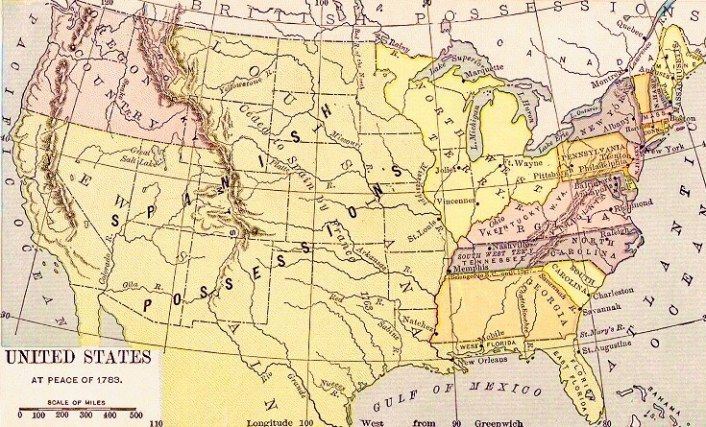 Map of the U.S. at the time of the Paris Peace Treaty of 1783.