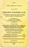 Full-size view of title page of Benjamin Franklin's Autobiography: The Private Life of the Late Benjamin Franklin