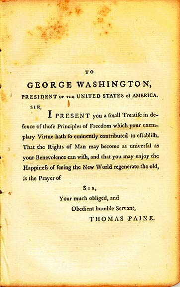 Rights of Man Dedication page to George Washingtom