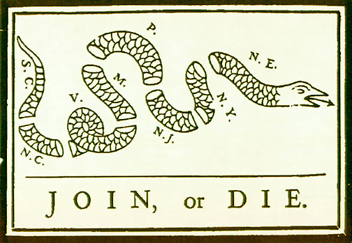Join or Die: One of the first political cartoons published in America