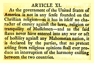 Article XI from the Treaty of Tripoli