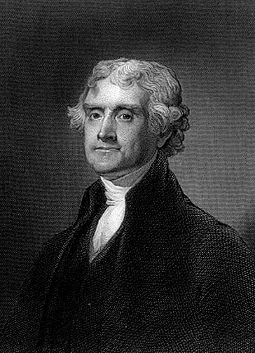 Portrait of Thomas Jefferson, U.S. President and author of the Declaration of Independence